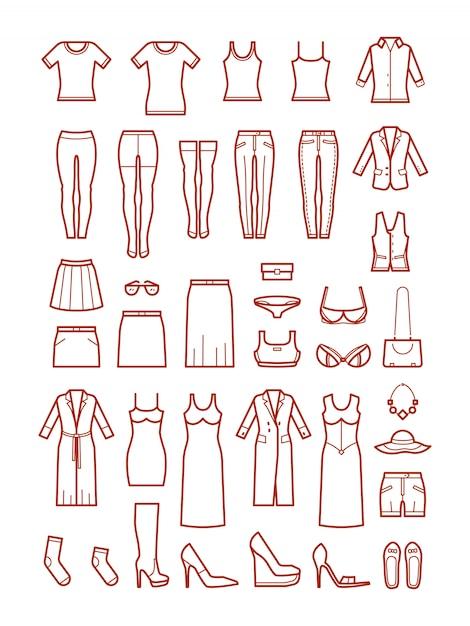 Vêtements pour femmes, jeu d'icônes de mode féminine Vecteur Premium