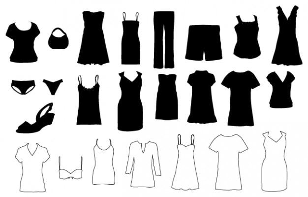 v tements pour femmes silhouettes en noir et blanc t l charger des vecteurs gratuitement. Black Bedroom Furniture Sets. Home Design Ideas