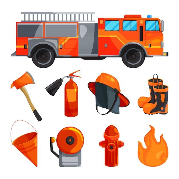 Vêtements de protection de pompier, bottes, casque, hache et autres outils spécifiques. Vecteur Premium
