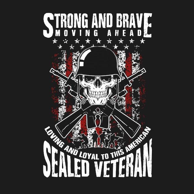 Vétéran du crâne et du pistolet Vecteur Premium