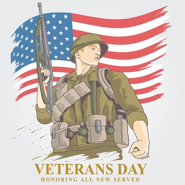 Vétérans américains Vecteur Premium