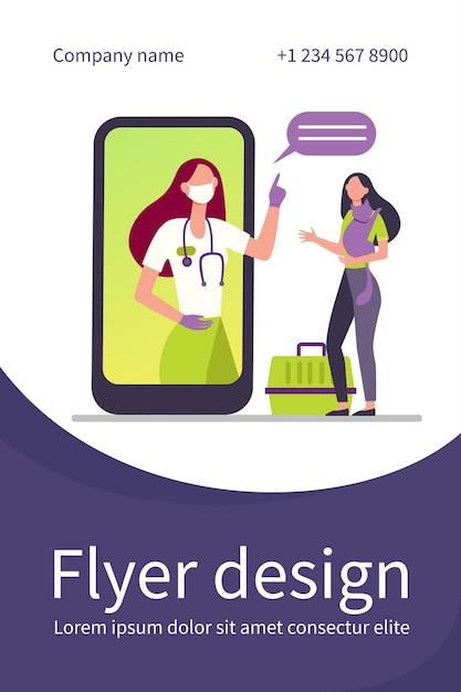 Vétérinaire Sur écran De Smartphone Consultation Femme Avec Chat Vecteur gratuit