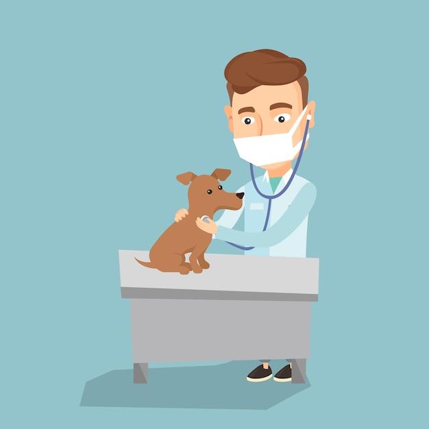Vétérinaire Examine Illustration Vectorielle De Chien. Vecteur Premium