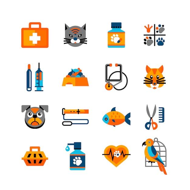Vétérinaire icons set with pets Vecteur Premium
