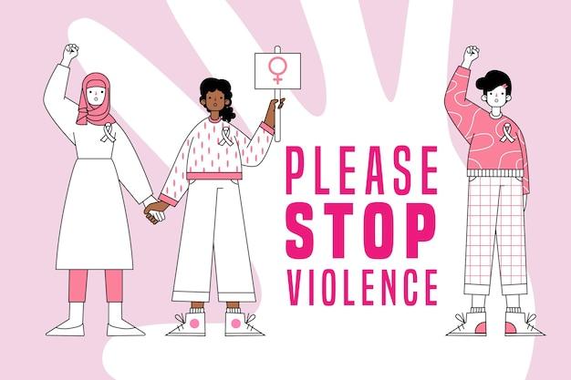 Veuillez Arrêter La Violence Contre Les Femmes Vecteur gratuit