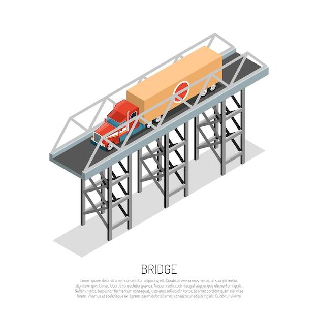 Viaduc Pont Métallique Construction Petite Envergure Détail Composition Isométrique Avec Cargo Auto Vecteur gratuit