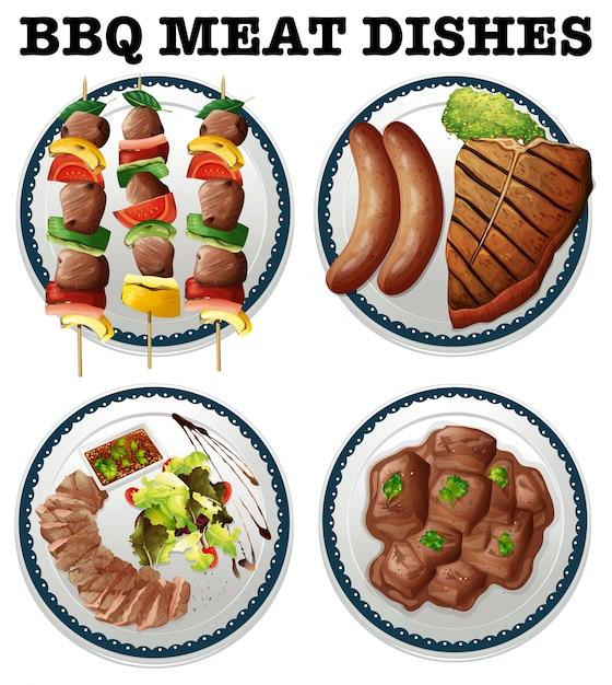 Viande de barbecue différent sur les plaques Vecteur gratuit