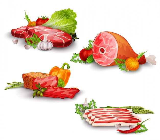 Viande avec légumes set Vecteur gratuit