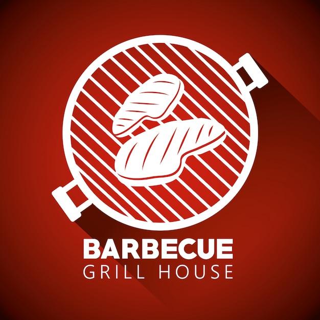 Viande sur la silhouette du barbecue Vecteur gratuit