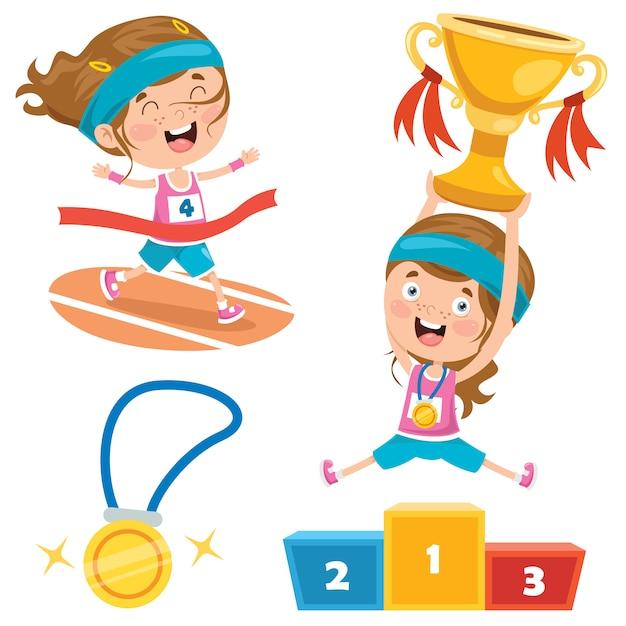 Victoire Du Championnat Des Petits Enfants Vecteur Premium