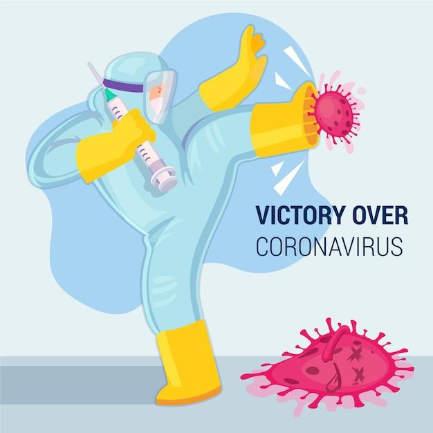 Victoire Du Coronavirus Vecteur gratuit