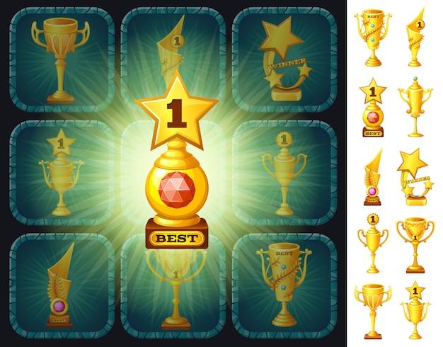 Victoire avec récompense coupe d'or. Vecteur Premium