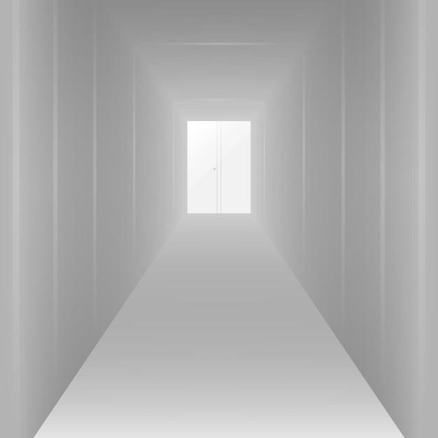 Vide long couloir blanc, pour la conception. illustration vectorielle Vecteur Premium