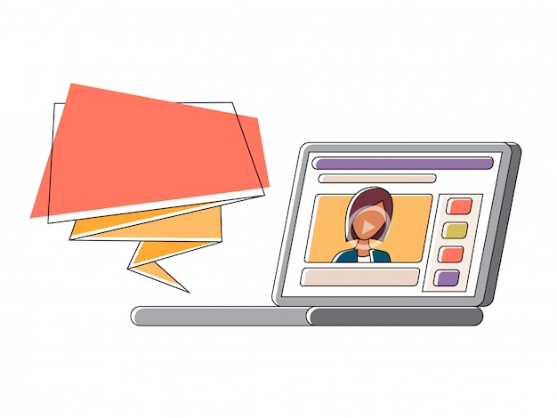 Vidéo blogger faisant flux Vecteur Premium