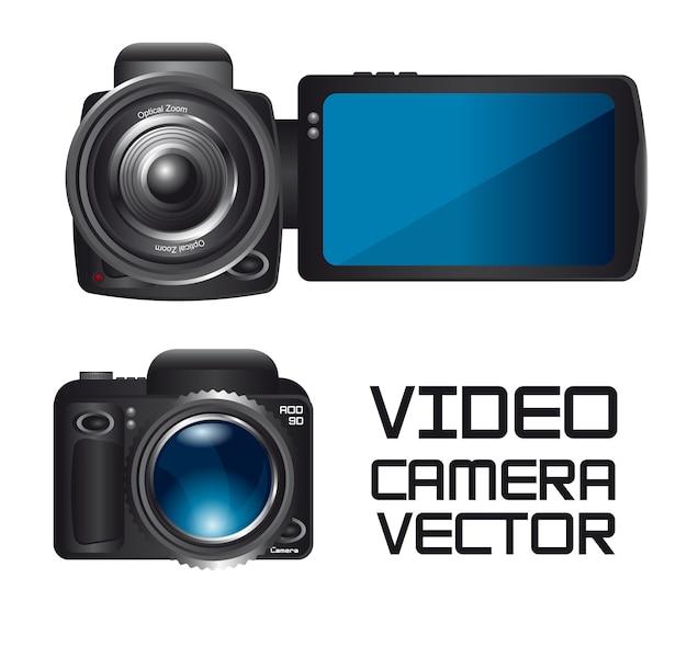 Vidéo et caméra isolé sur fond blanc vecteur Vecteur Premium