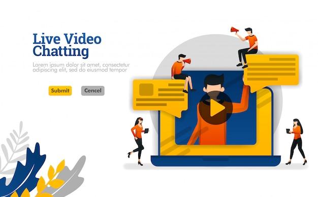 Vidéo en direct avec des ordinateurs portables, conversations pour vlogger industriel, illustration vectorielle de médias sociaux Vecteur Premium