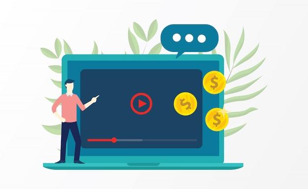 Vidéo marketing w Vecteur Premium
