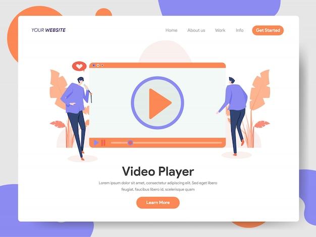 Video player bannière de la page de destination Vecteur Premium