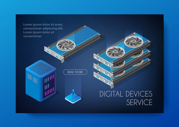 Videocard set of bitcoin minière Vecteur Premium