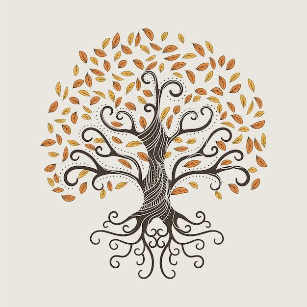 Vie D'arbre Dessiné à La Main Avec Des Feuilles D'automne Vecteur gratuit