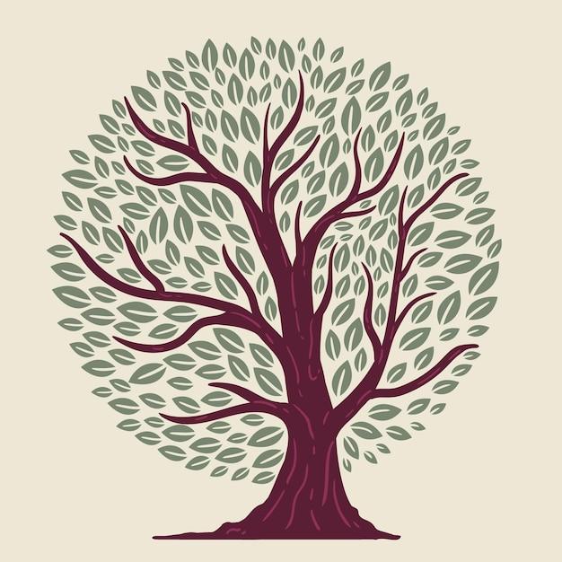 Vie D'arbre Dessiné à La Main Vecteur gratuit