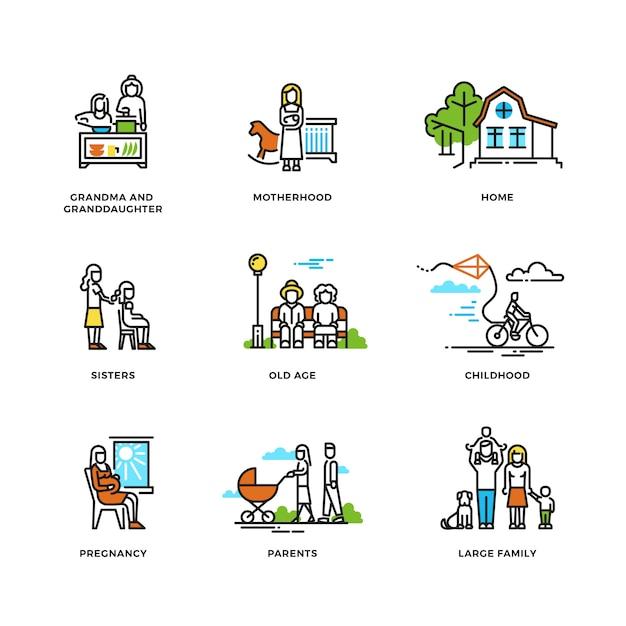 La vie de famille Vecteur Premium