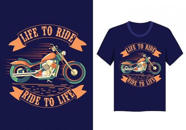 La vie de moto à conduire la conception de t-shirt Vecteur Premium