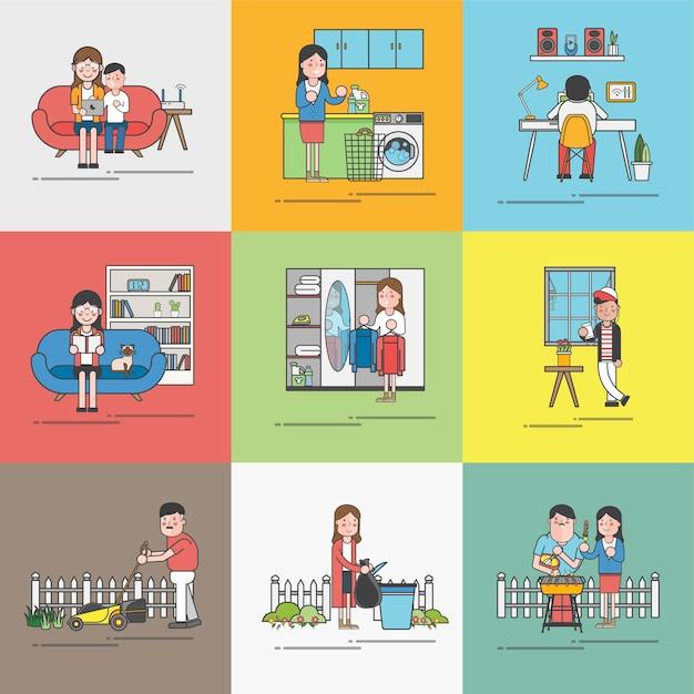 Vie quotidienne d'une famille heureuse Vecteur gratuit