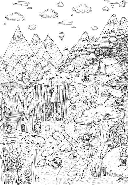 La Vie Sauvage Dans La Forêt Dessinée Dans Le Style D'art En Ligne. Conception De Pages De Livre De Coloriage. Illustration Vectorielle Vecteur Premium