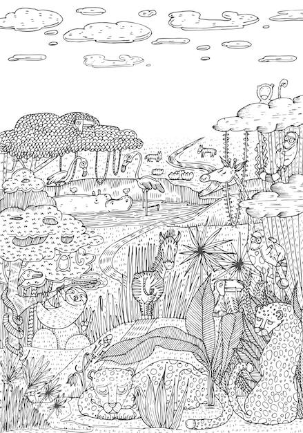 La Vie Sauvage Dans La Jungle Dessinée Dans Le Style D'art En Ligne. Conception De Pages De Livre De Coloriage. Illustration Vectorielle Vecteur Premium