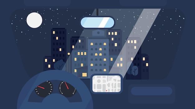 La vie en ville depuis la voiture Vecteur Premium