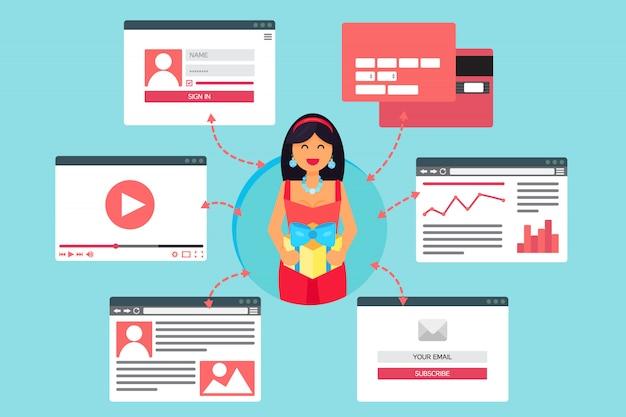 Vie web de femme heureuse avec un cadeau de la vidéo, blog, réseaux sociaux, achats en ligne et email Vecteur Premium