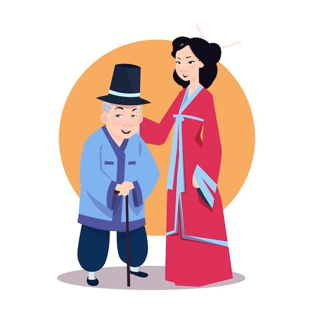 Vieil Homme Asiatique Avec Une Jeune Femme En Kimono Japonais Vecteur Premium