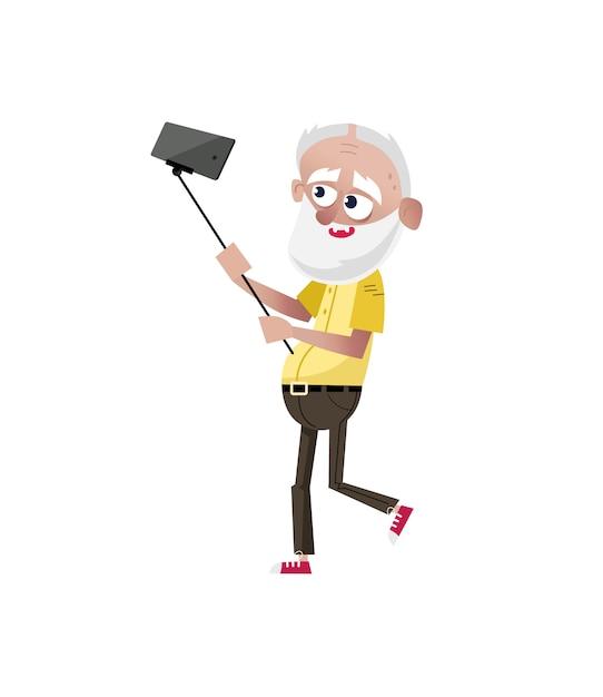 Vieil homme barbu faisant le caractère de selfie. Vecteur Premium