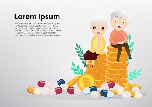 Vieil homme et femme assise sur des pièces de monnaie, business et concept de soins de santé. Vecteur Premium
