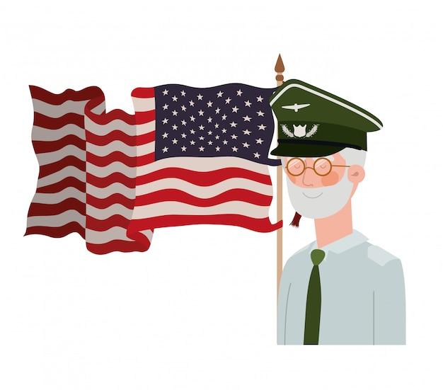 Vieil homme de guerre vétéran avec drapeau des états-unis Vecteur Premium