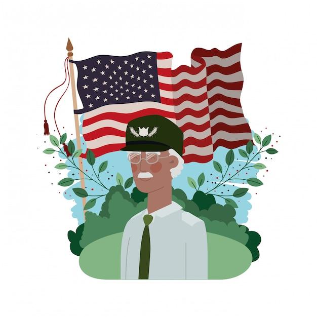 Vieil homme de guerre vétéran avec paysage et drapeau des états-unis Vecteur Premium