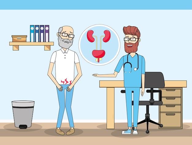 Vieil homme avec inyection rénale et médecin Vecteur Premium