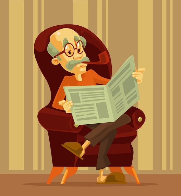 Vieil Homme Lisant Le Journal. Grand-père Fumant. Dessin Animé Vecteur Premium