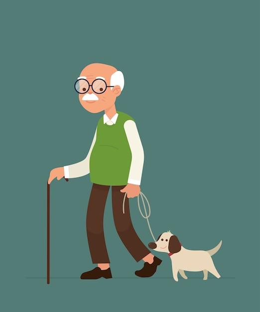 Un vieil homme marchant avec son chien Vecteur Premium