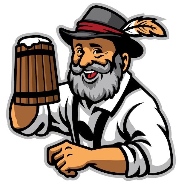 Vieil homme portant des vêtements traditionnels allemands et tenir la bière Vecteur Premium