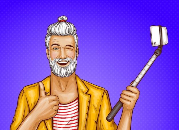 Vieil homme avec selfie bâton et smartphone Vecteur gratuit