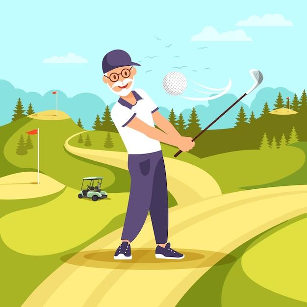 Vieil homme en uniforme jouant au golf avec club et ballon Vecteur Premium