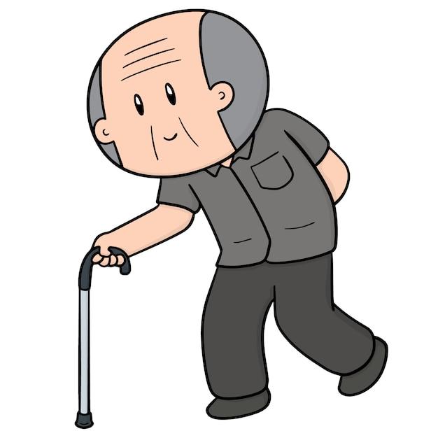 Vieil homme utilisant une canne Vecteur Premium