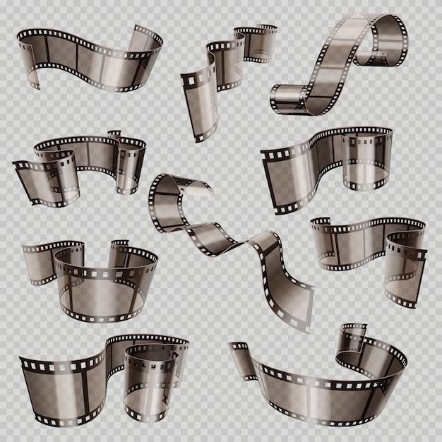 Vieille bande de film de film 3d, diapositive de foto isolée Vecteur Premium