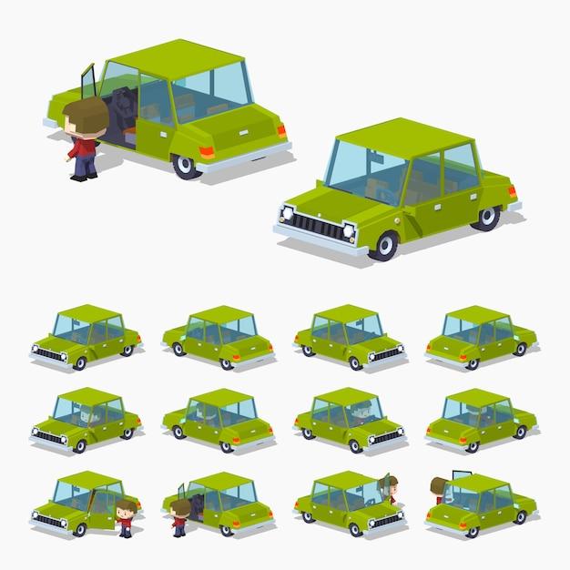 Vieille berline isométrique 3d lowpoly verte Vecteur Premium