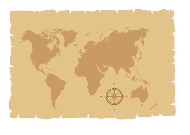 Vieille carte sur vieux papier avec illustration vectorielle boussole rose Vecteur Premium