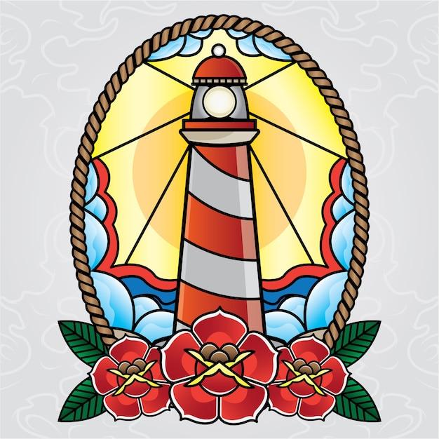 Vieille école de tatouage phare de vecteur Vecteur Premium