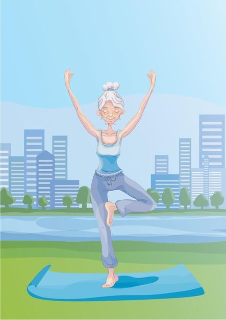 Une Vieille Femme Aux Cheveux Gris Pratique Le Yoga En Plein Air Dans Le Parc De La Ville, Debout Sur Une Jambe. Mode De Vie Actif Et Activités Sportives Dans La Vieillesse. Illustration. Vecteur Premium