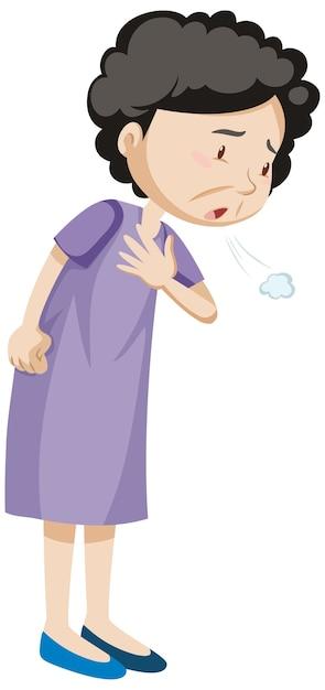 Vieille Femme Ayant Des Douleurs Thoraciques Vecteur gratuit